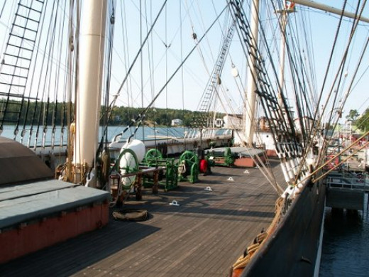 on the deck of the Pommern