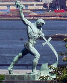 A statue based on the Isaiah 2:4 verse of beating swords into plowshares-- a prophecy from the Old Testament referring to the peaceful nature of The Messiah to come.