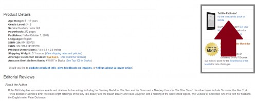 Below the related suggestions, to the right of the book specifications.