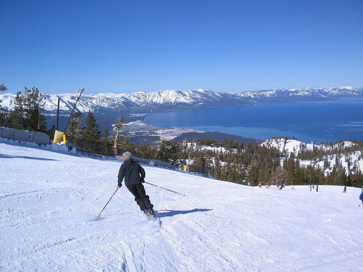 Ski slope overlooking Lake Tahoe