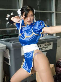 Chun Li, Cos-Play. Short for costume play. Gaining popularity among fans of video games, animation, and action movies.