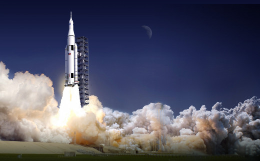 Artist Conception of SLS heavy launch system. Look familiar? Imagine the old Saturn V moon rocket with a couple of shuttle style solid boosters strapped on. Cost plus contracts have stifled risk-taking and innovation at NASA.