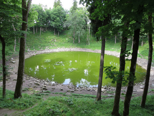 One of the Kaali Craters: formed between 4,000 and 7,500 Years ago. A sacred lake in regional folklore, and may have been used for ritual sacrifice