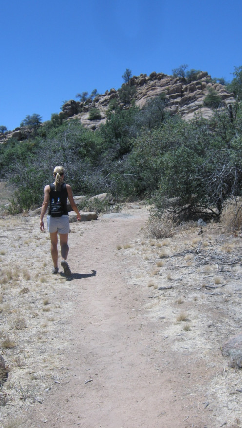 Run Your Own Race, Susanne Hiking around Watson Lake.