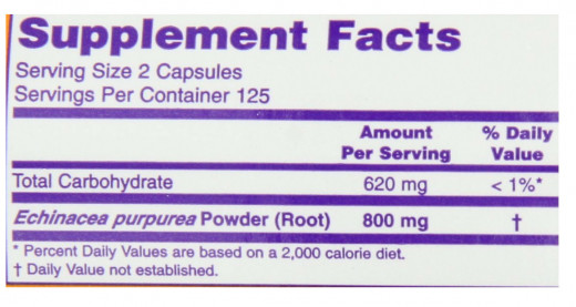 Note the TYPE of Echinacea, the AMOUNT of DOSAGE and the number of capsules you have to take to get that dosage!