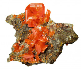 Wulfenite can be found in Box Elder, Beaver and Salt Lake Counties in Utah.  This specimen is from the Red Cloud Mine, Arizona, USA