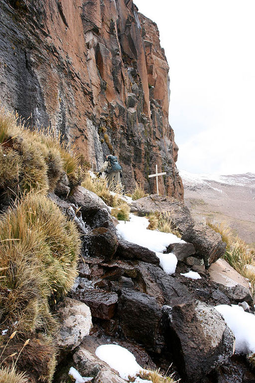 Origin of the Amazon: The wooden cross marks the source of the river at  Nevado Mismi in the Andes Mountains