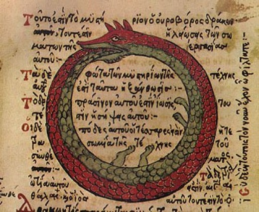 The Ouroboros is shown here from a byzantine alchemical text circa the 7th century.