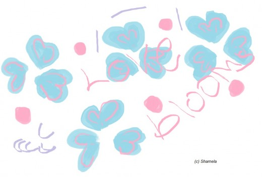 """My drawing, """" love and flowers""""."""