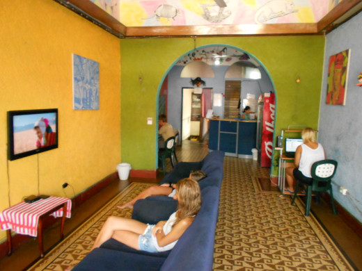 This is the common room of the hostel where the tv, internet, reception desk, and beer cooler were.