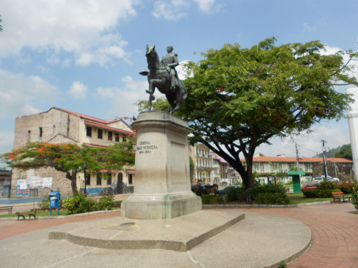 In Old Town Panama City, this statue rests in a park that is plunked down amidst the chaos.