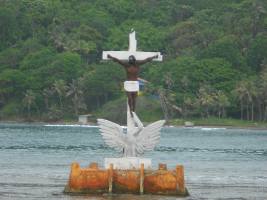 The statue of Christ that I mentioned swimming around...just floating in the harbor.