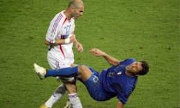 Marco Materazzi falls after Zidane's headbutt