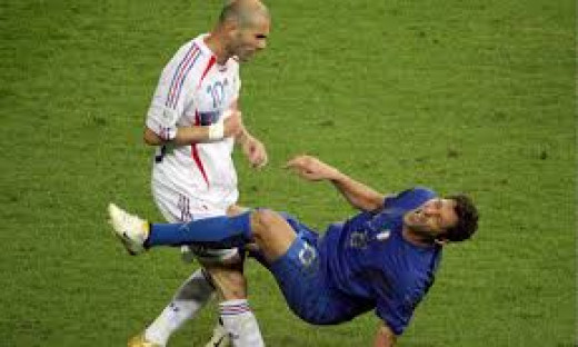 Marco Materazzi falls after Zidane's headbutt