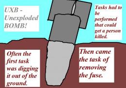 UXB - Unexploded Bomb.