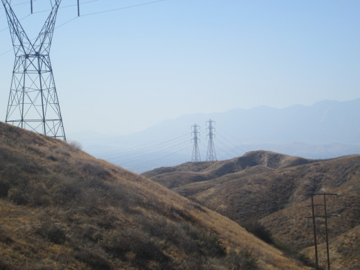 Three pylons on the hills.