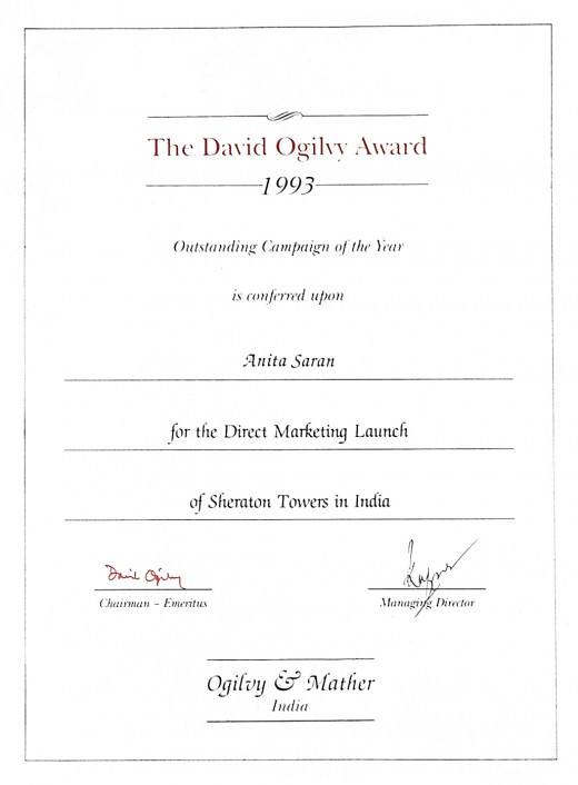 My David Ogiivy Award For Outstanding Campaign of the Year 1993