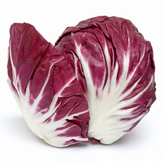 """For those of you that scratched your head at """"radicchio,"""" here is a picture. It is a bitter vegetable that (I think) is best served cooked as that mellows that bitter flavor."""