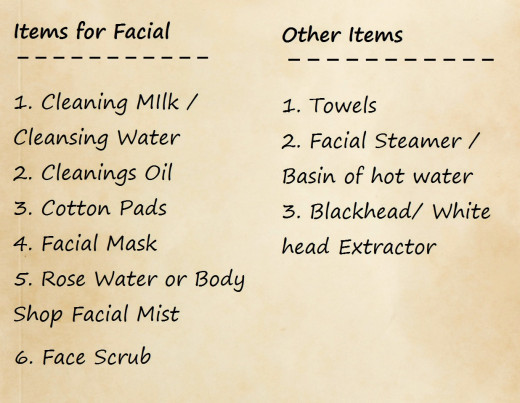 It is better to make a list in advance of doing a facial to ensure that you have everything in the house before your begin.