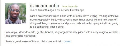 Isaac Nunoofio  Creative Writer & Explorer  http://isaacnunoofio.hubpages.com/
