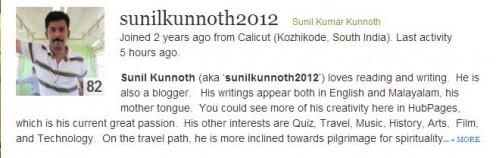 Author Sunil Knunnoth Creative & Exploring Writer. http://sunilkunnoth2012.hubpages.com/