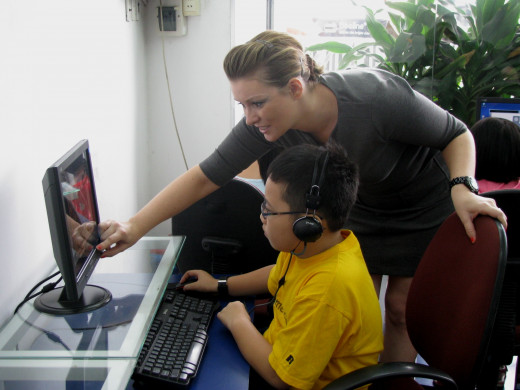 Young student receiving education online