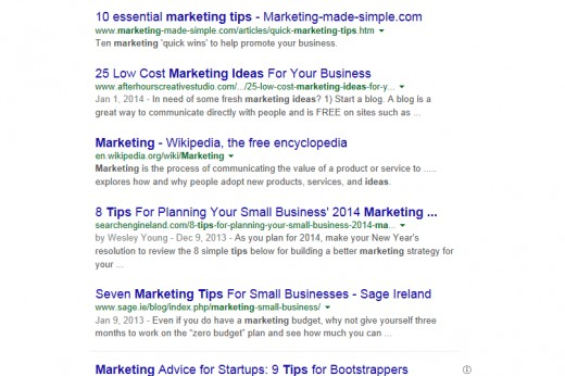 "A search for ""marketing tips"" on Google gave me some of these results, and most of them have numbers. Looks like these marketers know what they are doing!"