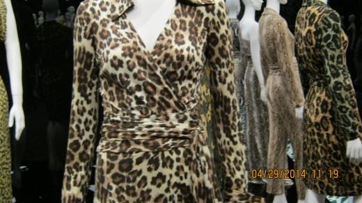 Close-up of a Diane von Furstenberg wrap dress in leopard print