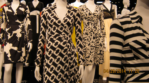 Close-up of a Diane von Furstenberg wrap dress in black and white print