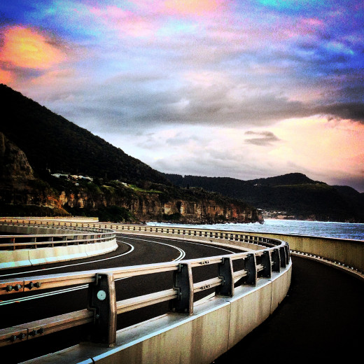 The Sea Cliff Bridge at dusk on Lawrence Hargrave Drive near Coalcliff on the NSW South Coast in Australia