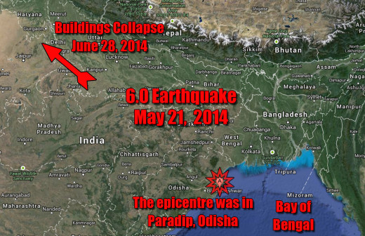 An earthquakes that's epicenter is along the coast in the Bay of Bengal is felt as far away as New Delhi and yet no connection is made between this recent building collapses