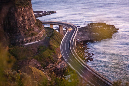 The Sea-Cliff Bridge on Lawrence Hargrave Drive on the NSW South Coast in Australia