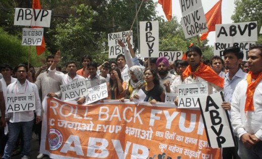 Protests by ABVP against Four Year University Program of Delhi University