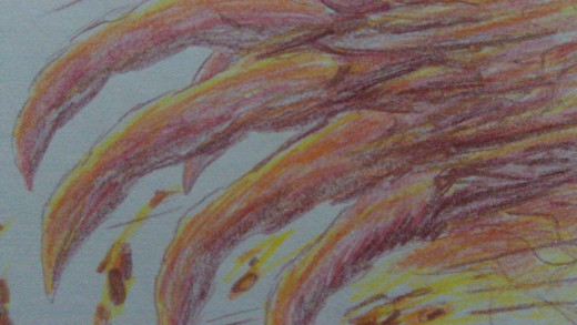 A red Demon claw was the basic idea and so here we are. Colored pencils