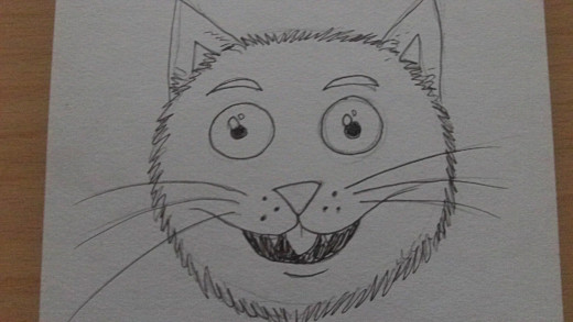 A fun happy cat head drawing