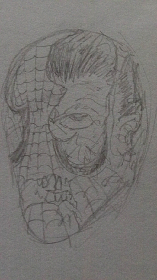 Zombie spiderman head sketch 2