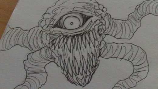 A demon creature with tentacle arms. Tentacles and Demons are also a common theme in this drawing journal.
