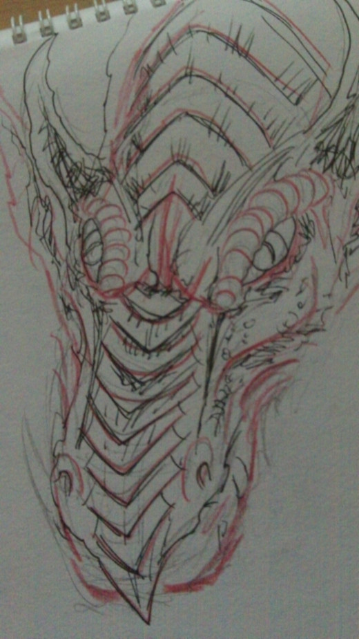 A red Dragon head quick sketch.