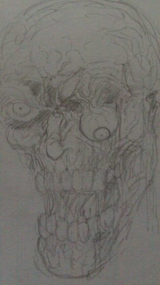 A zombie head pencil sketch.