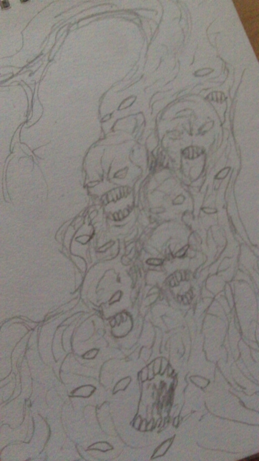 Haunted souls tree pencil quick sketch.