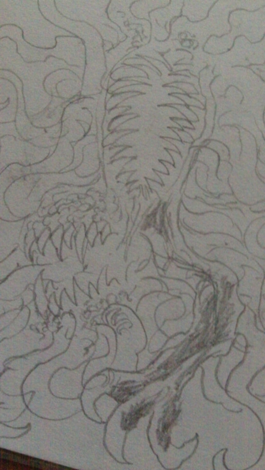 Weird creature pencil sketch.