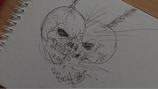 Skull conkers quick ink pen sketch.