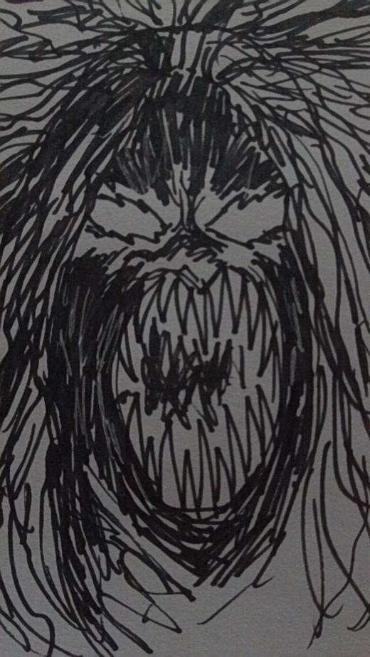 Demon head marker art.