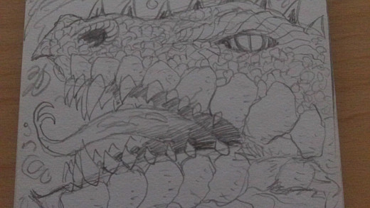 A dragon head drawing