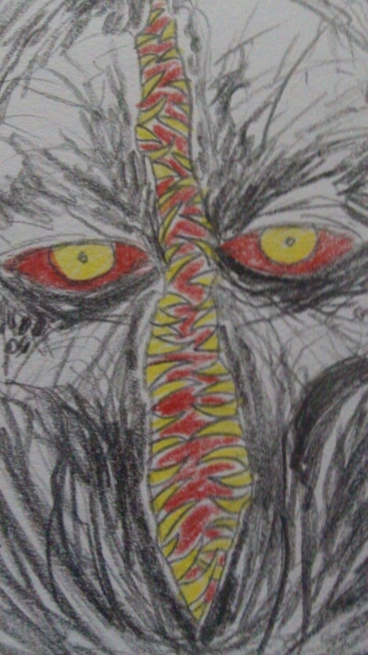 Another random Demon head colored with Prismacolor pencils.