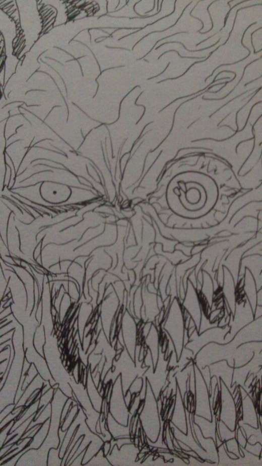 A Un-pin ink sketch of a Demons face.
