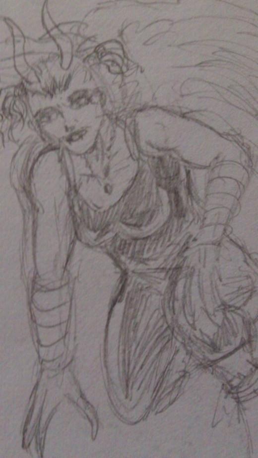 A Demon Fairy quick pencil sketch