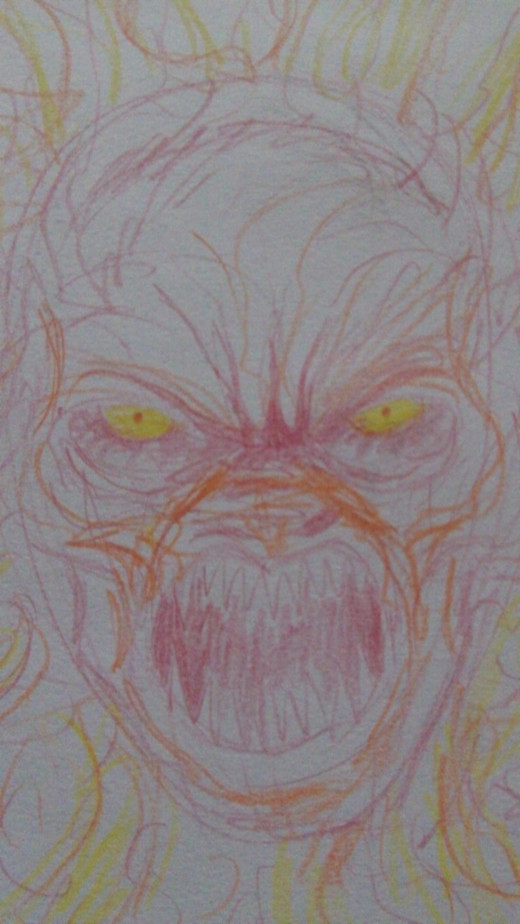 Demon head drawn with colored pencil.
