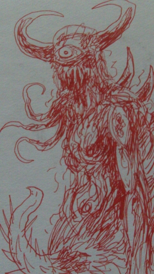 Red gel pen demon creature sketch.