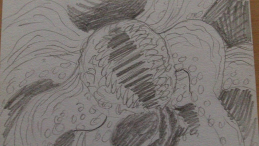Evil Octopus inspired monster creature sketch.